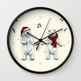 The polar bears wish you a Merry Christmas Wall Clock