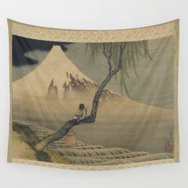 Boy Viewing Mount Fuji by Katsushika Hokusai Wall Tapestry