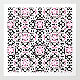 Black and Pink Tile Art Print