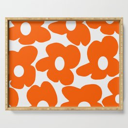Orange Retro Flowers White Background #decor #society6 #buyart Serving Tray