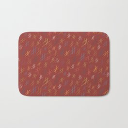 Abstract Orchard HashTag Compost-Red Bath Mat