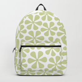 Abstract Flowers Lime Color on White Backpack