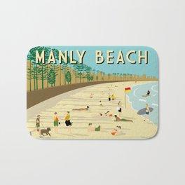 Manly Beach Retro Art Print Bath Mat