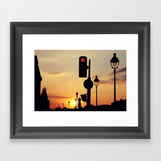 Stop and look at the sunset Framed Art Print