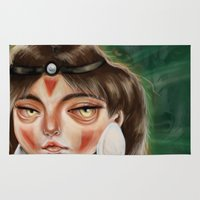 princess mononoke Area & Throw Rugs featuring San :: Princess Mononoke by Kristin Frenzel