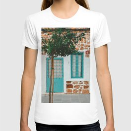 Photo in Ibiza Santa Eulalia | Front Blue door of a house | Green Olive tree | travel fine art photography T-shirt