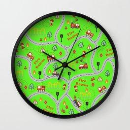 Fireman cute seamless kids pattern bright green Wall Clock
