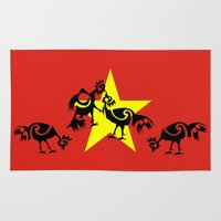 vietnam Area & Throw Rugs featuring Vietnam Flag, Roosters Sparring by mailboxdisco
