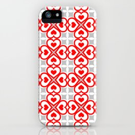 Red hearts pattern iPhone Case