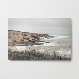 California Central Coast Bluffs with Storm Waves Metal Print