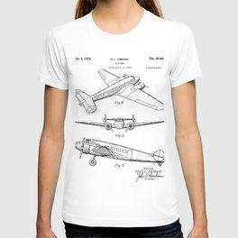 Lockheed Airplane Patent - Electra Aeroplane Art - Black And White T-shirt