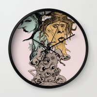 hats Wall Clocks featuring Monster Hats  by Quirkyjoe
