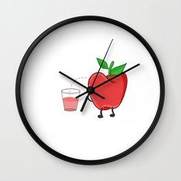 apple juice peeing apple funny Lulu urinating Wall Clock