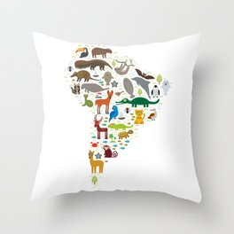 South America sloth anteater toucan lama bat fur seal armadillo boa manatee monkey dolphin Throw Pillow