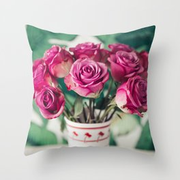 Purple Roses Against Banana Palms Throw Pillow