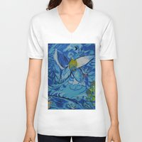 marc johns V-neck T-shirts featuring Jakobs Dream 2 - Tribute to Marc Chagall by ArtvonDanielle