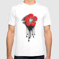 Red and Aqua Atomic Flower MEDIUM Mens Fitted Tee White