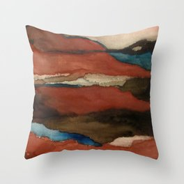 """""""a dark february"""" abstract watercolor painting Throw Pillow"""