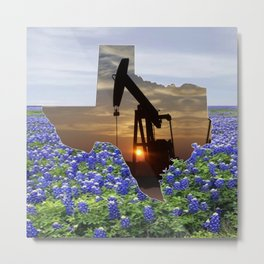 Texas Oil Pump Jack At Sunset In Field Of Bluebonnets Metal Print