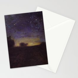 Starry Night, Summer Solstice landscape painting by Jean-Francois Millet Stationery Cards