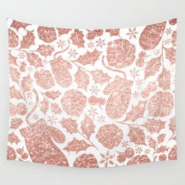 rose gold pink glitter christmas mittens pattern Wall Tapestry