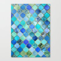 watercolor Canvas Prints featuring Cobalt Blue, Aqua & Gold Decorative Moroccan Tile Pattern by micklyn