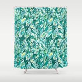BANANA LEAF JUNGLE Green Tropical Shower Curtain
