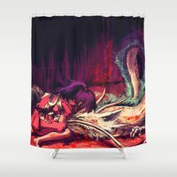 alicexz Shower Curtains featuring Bleed by Alice X. Zhang