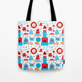pattern with sea icons on white background. Seamless pattern. Red and blue Tote Bag