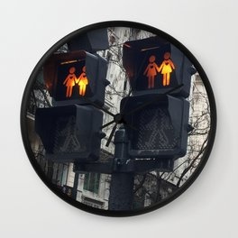 Gay Street Lights (Lesbian Couple) Wall Clock