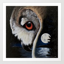 Eagle Owl - The Watcher - by LiliFlore Art Print