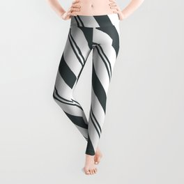 PPG Night Watch Pewter Green  and Dark Green Stripes Angled Lines Leggings