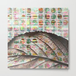 343 19 Abstract Polka Dot Autumn Leaf Metal Print