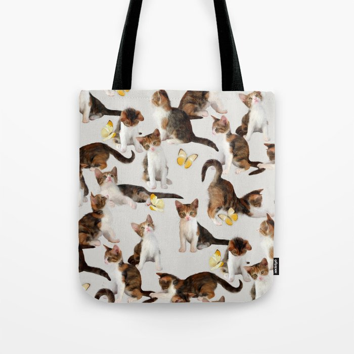 Kittens and Butterflies - a painted pattern Tote Bag