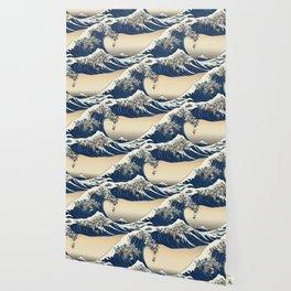 The Great Wave of Pugs Vanilla Sky Wallpaper