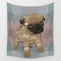 puppy Wall Tapestries featuring Pug Puppy by ArtLovePassion