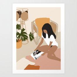 Lovely girl reading book illustration Art Print