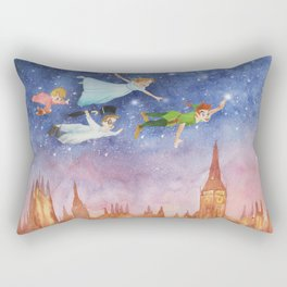Peter Pan Sunset Nursery Decor Rectangular Pillow
