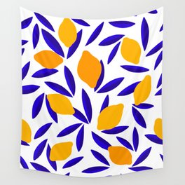 Blue and yellow Lemon Summery Pattern Wall Tapestry