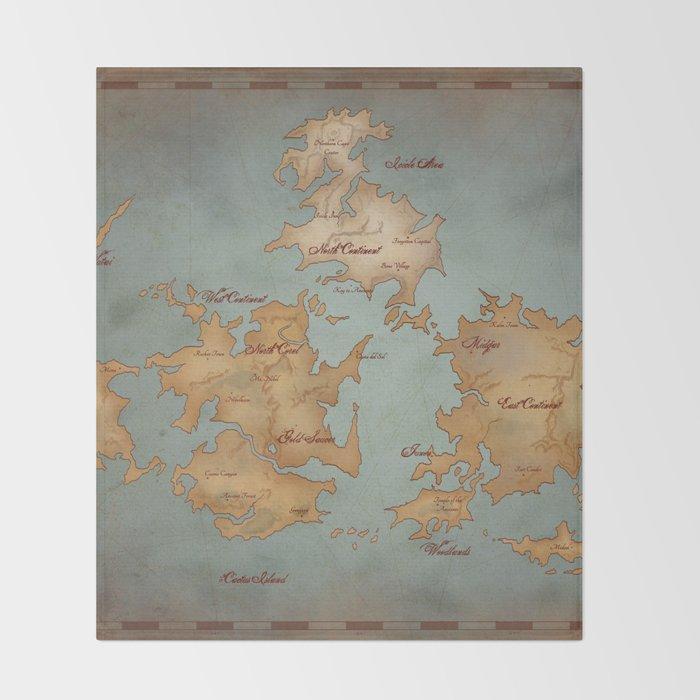 Gaia World Map Final Fantasy Vii Throw Blanket By Kazpalladino