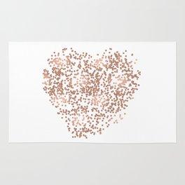 Rose Gold Glam Confetti Heart Rug