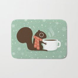 Squirrel Coffee Lover Holiday Bath Mat