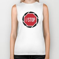 aperture Biker Tanks featuring f/STOP SIGN by Sandhill