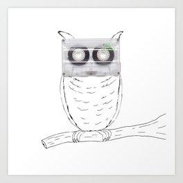 Owl cassette Art Print