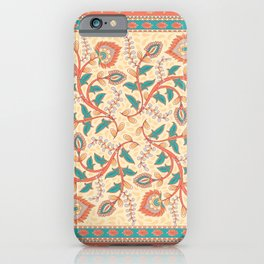 Square decorative design with ornament of flowers and leaves. iPhone Case