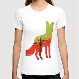Textured abstract in green and orange T-shirt