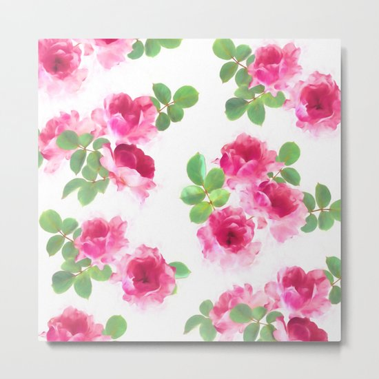 Raspberry Pink Painted Roses on White Metal Print