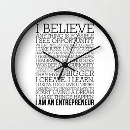Entrepreneur Manifesto Wall Clock