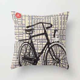 Bicycle with Mascot, S.E. 37th and Hawthorne, You Are Here, Portland. Throw Pillow