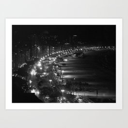 Copacabana beach at night Art Print